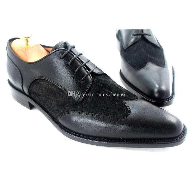 Zapatos de vestir de hombres Zapatos de Oxfords Zapatos hechos a mano de los hombres Zapatos de cuero genuino de piel de becerro y color de piel negro HD-061
