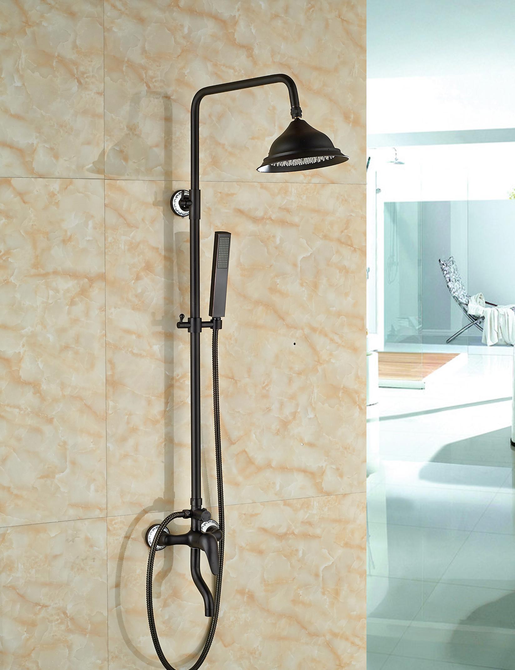 """Promozione all'ingrosso e al minuto Bronzo lucidato olio di lusso 8 """"rubinetto della doccia del rubinetto della vasca del rubinetto del getto della pioggia con lo spruzzatore della mano"""