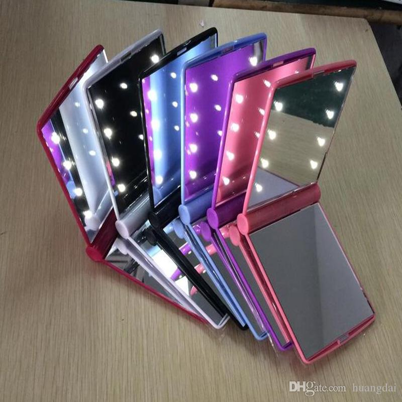 Makyaj Aynası LED Işık Ayna Masaüstü Taşınabilir Kompakt 8 LED ışıkları Işıklı Seyahat makyaj Aynası
