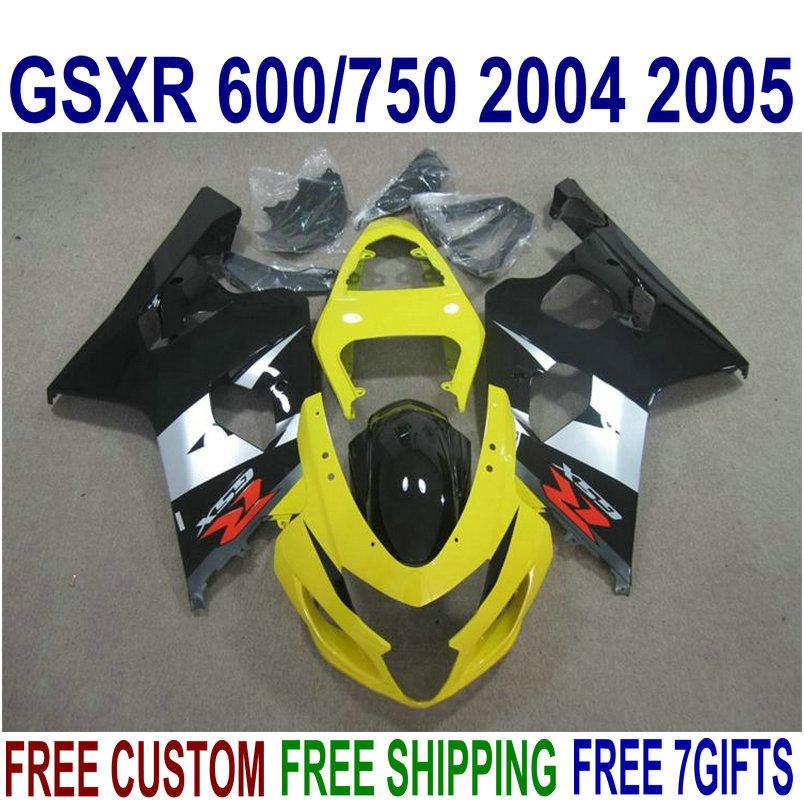 ABS Kit de carenagem para Suzuki GSXR 600 GSXR 750 2004 2005 K4 GSXR600 / 750 04 05 Branco Black Yellow Motorcycle Fairings Set U14J