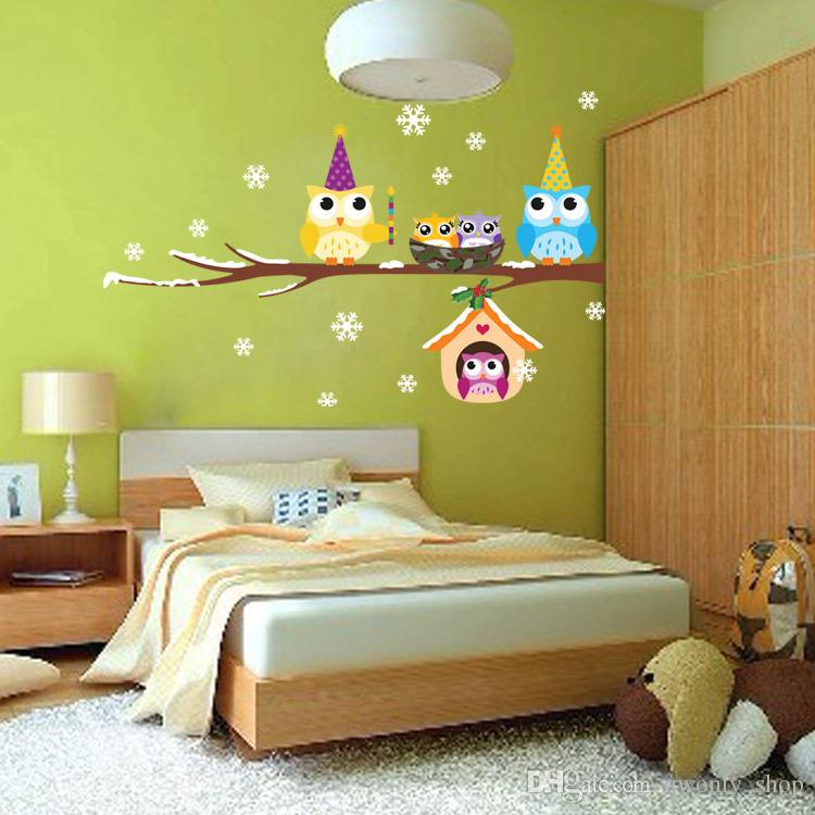 Christmas Decorations Creative Diy Owl Wall Sticker Kids Children ...