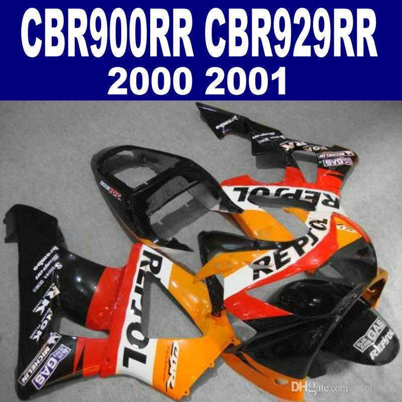 ABS full fairings set for HONDA CBR900RR CBR929 2000 2001 black orange REPSOLi plastic fairing kit CBR 900 RR 00 01 HB42