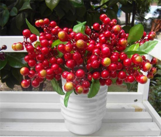 "Fake Single Stems Berry 23cm / 9.06 ""Longitud Flores artificiales California Sunshine Berries para bricolaje Accesorios de bricolaje nupcial 5 colores"