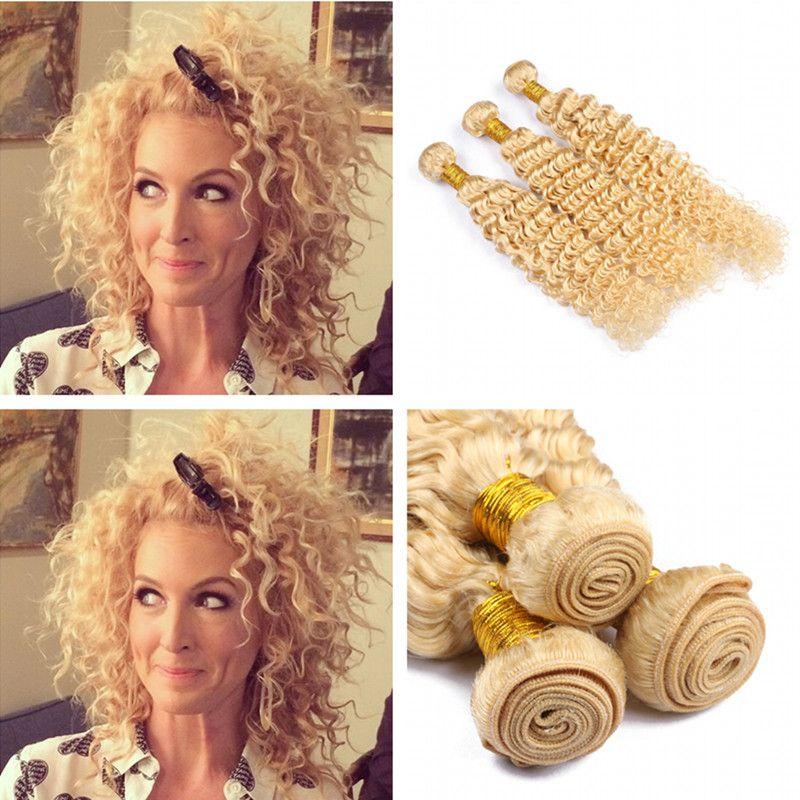 Peruanische Blench Blonde Jungfrau Tiefes Lockiges Haar Bundles 3 Stücke Los Unverarbeitete Russische Blonde 613 Haarspinnt Remy Haarverlängerung