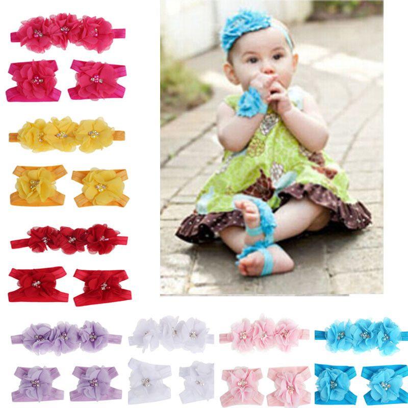30 шт./лот 20 шт. симпатичные ноги цветок босиком сандалии 10 шт. оголовье Baby Set сплошной цвет детские резинки для волос младенческой дети повязки