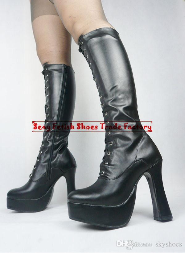 Wonderheel Extreme High Heel 12cm Chunky Heel Go Go Boots Marry