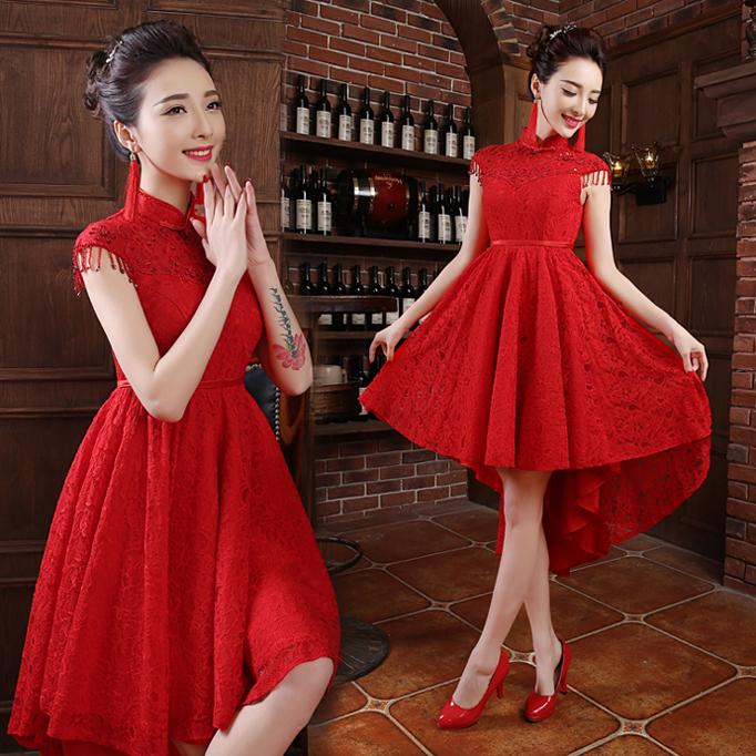 Chinese Red High Neck Bridal Dresses with Capped Beading Sleeves High Low Sequined Lace Wedding Dresses 2016 Custom Made