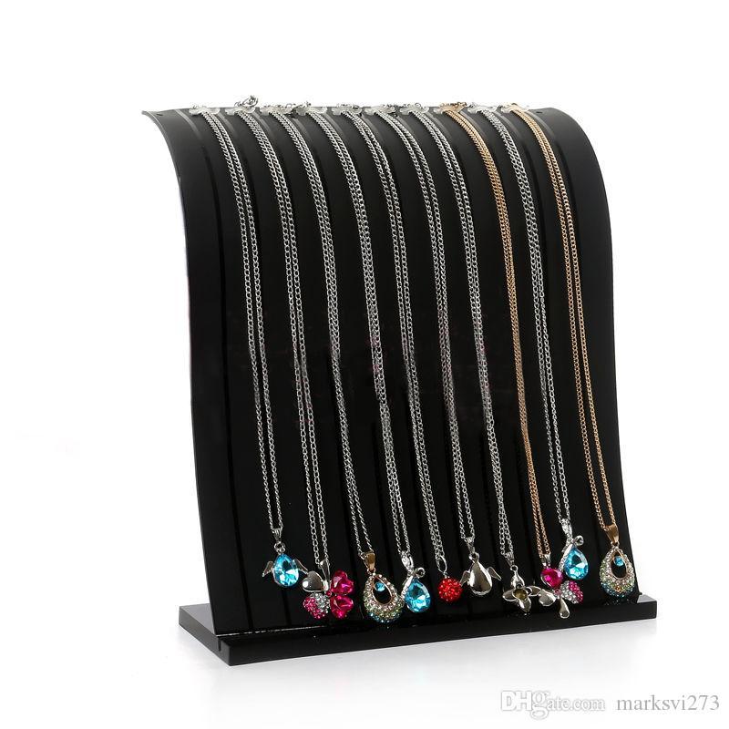 High-end bicolore 12 cabochon trasparente acrilico collana display stand supporto del braccialetto espositore gioielli display stand