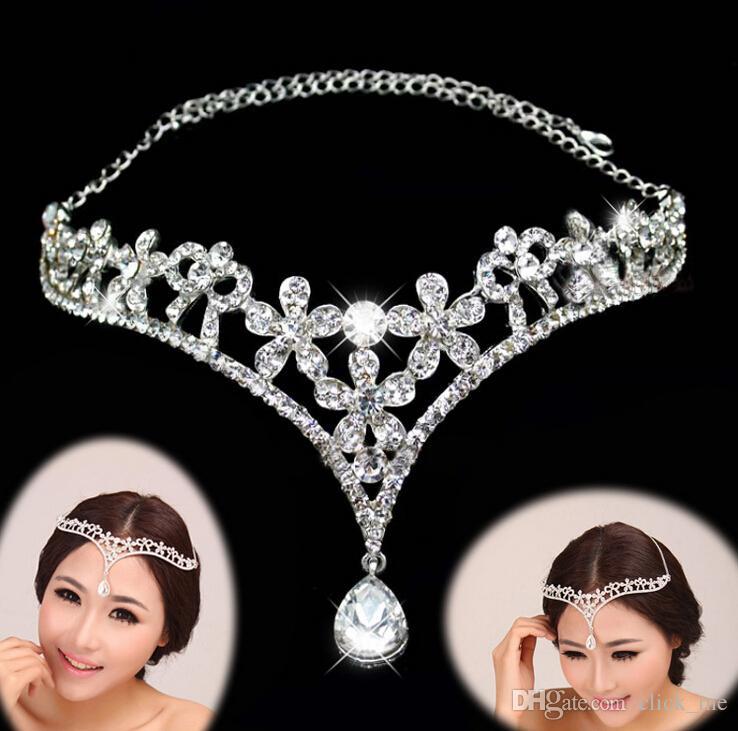 16.3 * 8 см Cheap Bridal Tiara Crystals Headband Bridal Головки Аксессуары Свадебные Изделия Формальное Событие Волос Носить Стразы Новая Мода