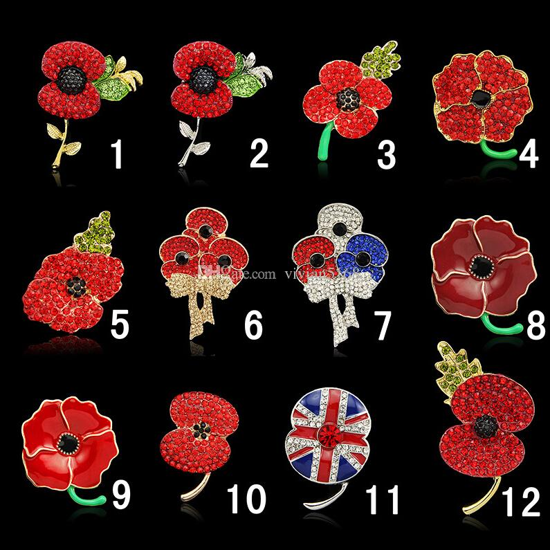2020 Fashion Royal British Legion Brooch Diamante Crystal Poppy