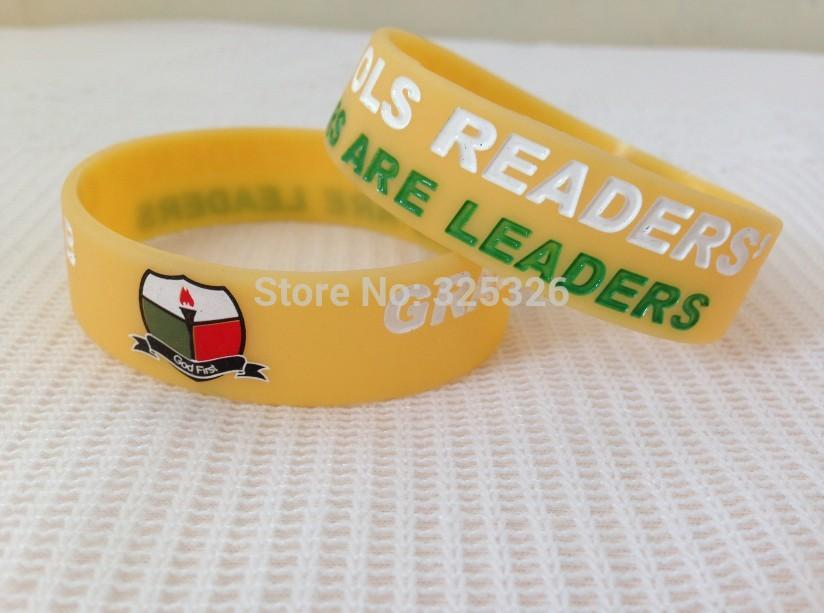 custom 25mm width cheap yellow silicon bracelet charm logo engrave promotion gift wristband bangles 100pcs/lot
