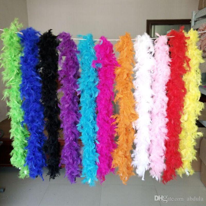 Cheap Feather Boas 2M Marabou Feather Boa Strip for Wedding Marabou Feather Boa Scarf Many Colors Available Fast Shipping