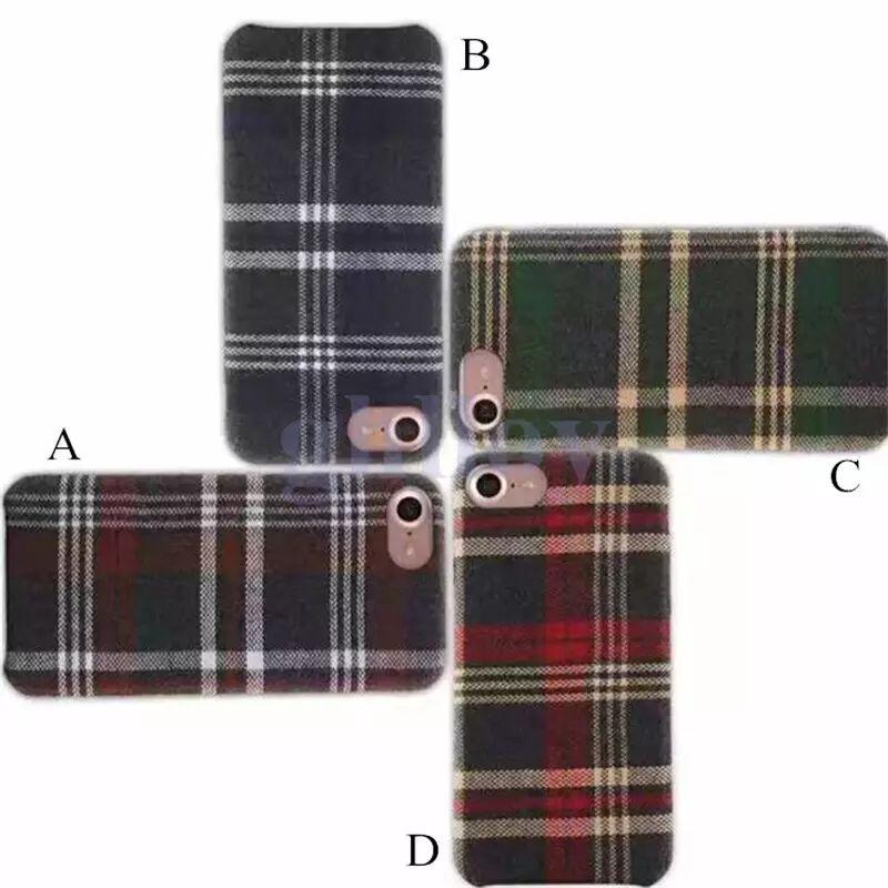 Mode Rétro Cas Flannelette Tissu Plaid Motif Shell Tissu Vérifier Bande Souple Grille Couverture Arrière Pour iphone7 8 7 plus 6 6 pus Iphone X 1 PCS