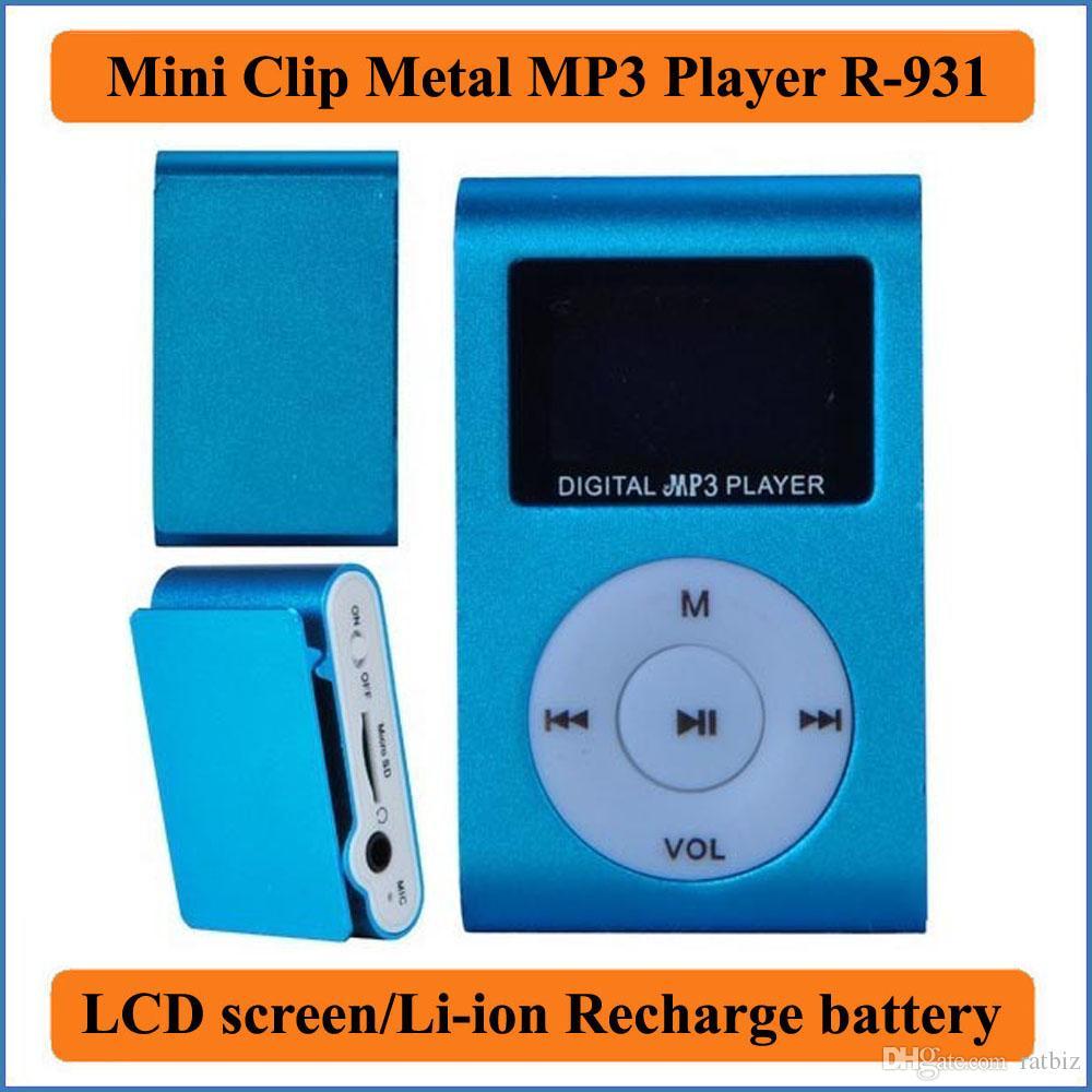 ميني كليب مشغل MP3 معدني مع شاشة LCD / بطارية ليثيوم أيون إعادة شحن دعم 32GB مايكرو SD فتحة بطاقة TF الرقمية مشغل موسيقى MP3 R-831