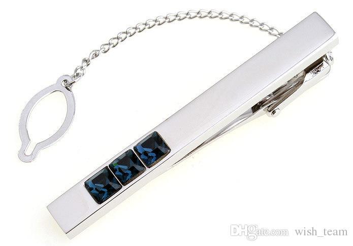 wish_team Brand blue crystal Silver Tone Metal Mens Fashion Tie Bar Clips best gift free shipping W379