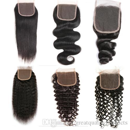브라질 버진 사람의 머리카락 레이스 클로저 페루 말레이시아 인디언 캄보디아 몽골 바디 웨이브 Straight Curly 4X4 Closures