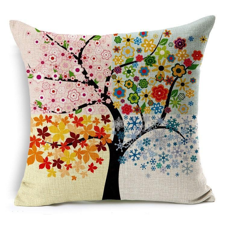 Cushion covers season charming colorful tree leaves cotton linen 45x45cm pillows cover for sofa couch chair car seat rest