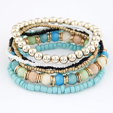 2015 جديد أزياء المحيط نمط متعدد الألوان سوار مجموعات / سوار مجوهرات للنساء شحن مجاني