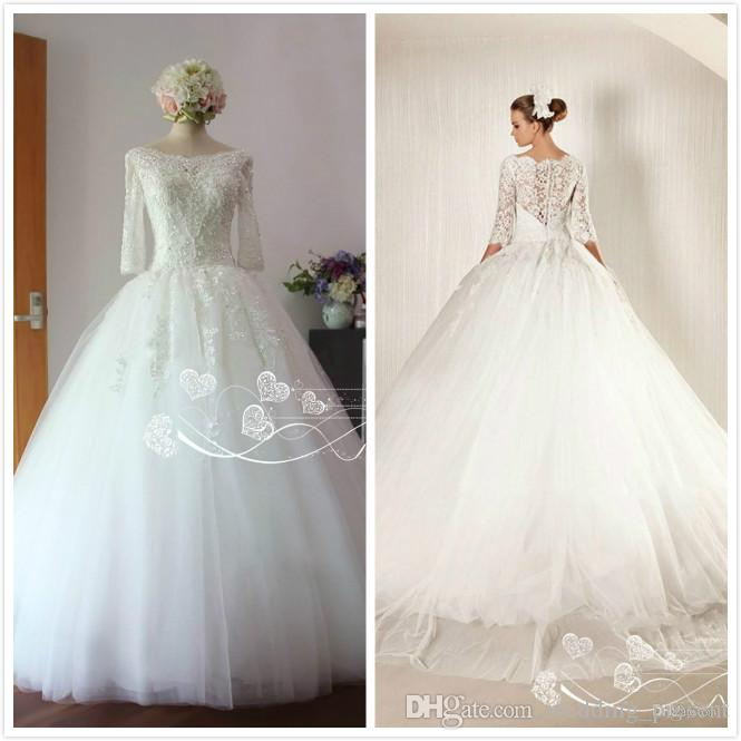Corset Princess Ball Gown Wedding Dresses 2015 with 3/4 Long Sleeves Covered Buttons Back Bridal Gowns Lace Wedding Wear Real Pictures