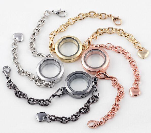 10PCS/lot Mix Colors Round Plain 25MM Floating Locket Charm Bracelet Magnetic Glass Living Locket Bangle
