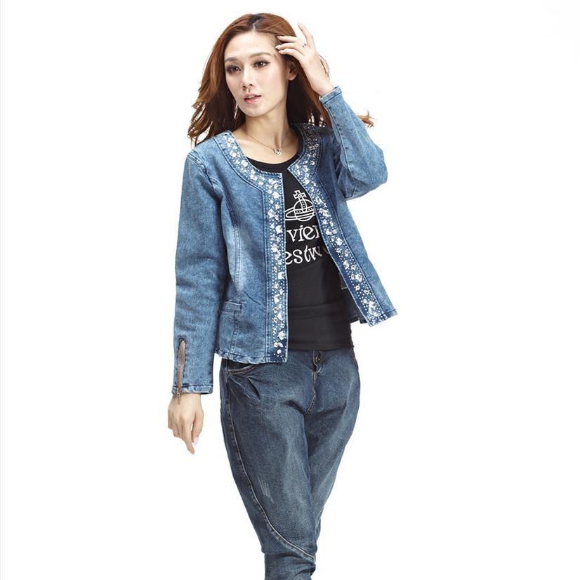 Wholesale- Plus Size 4XL jeans jacket women Denim Patchwork Outwear Jeans Coat For Women Long-sleeved Jeans Rivets Jacket W493