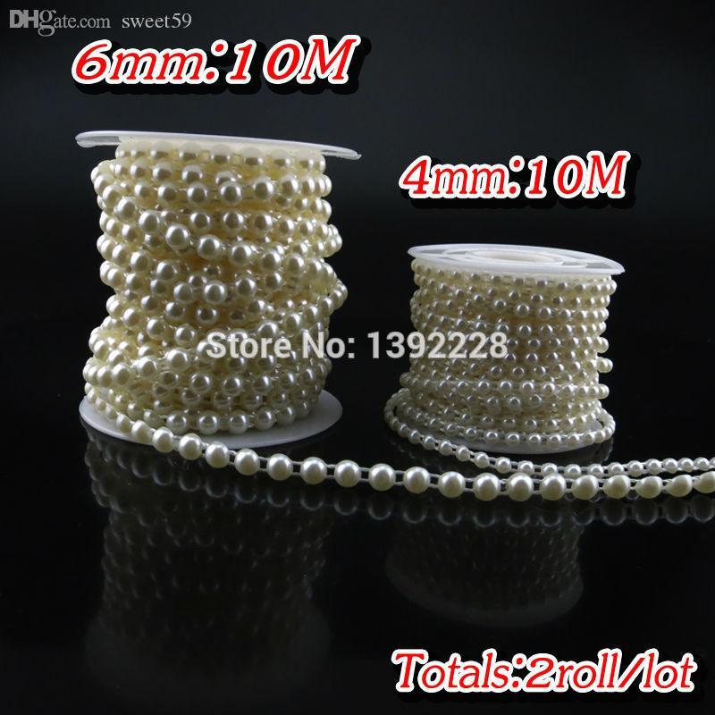 Vente en gros- (4mm + 6mm) Perle strass Applique 4 Couleurs Couture Strass Appliques Demi-Rond Dos Plat Coudre des Perles Pour des Robes de Mariée