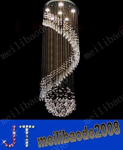 D50cm*H130cm Luxury Chandelier K9 Crystal Ball Spiral Art Luminaire Decoration Rain Drop Luster Pendant Lamp Ceiling Chandeliers MYY10546A