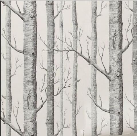 Birch Tree Pattern Non Woven Woods Wallpaper Roll Modern Designer Wallcovering Simple Black And White