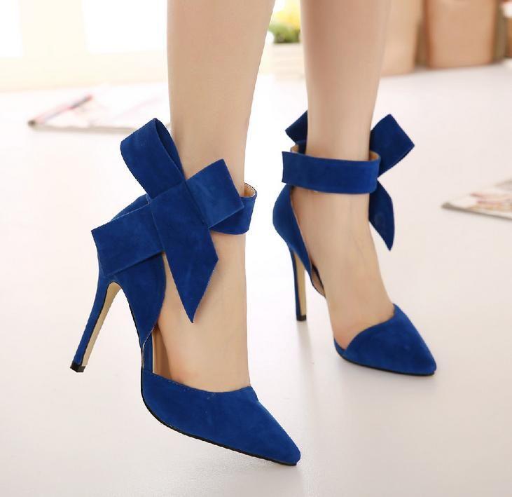 Blue Black Com Bow Slingbacks High Heeled Bombas Verde Red Plus Size Mulheres sapatos tamanho 35 a 40 41
