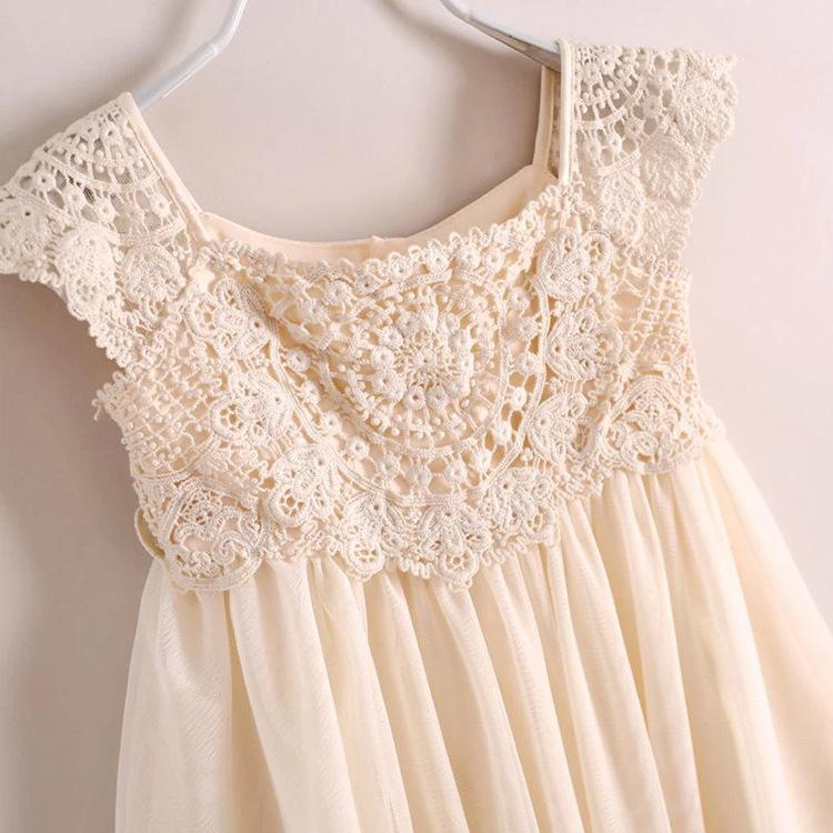 2019 Ins New Arriavl Noble Princess Dress Summer Children Lace Crochet Tulle Tutu Dress Girls Beige Party Dress Brand Children Clothing 3 10t From