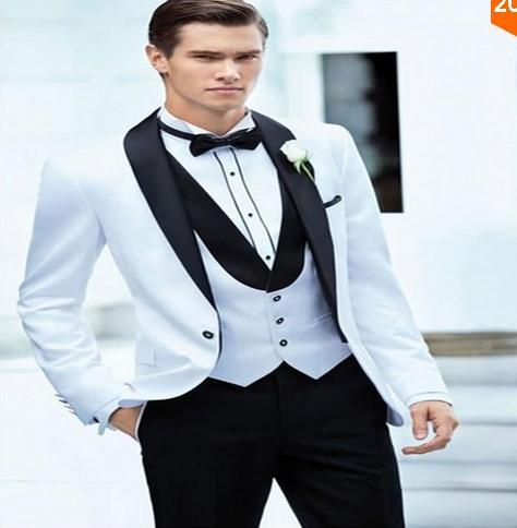 Nuevos trajes de novio hechos a medida, traje de fiesta hermoso blanco Traje de padrino para hombre (chaqueta + pantalón + corbata + chaleco) Traje de novio