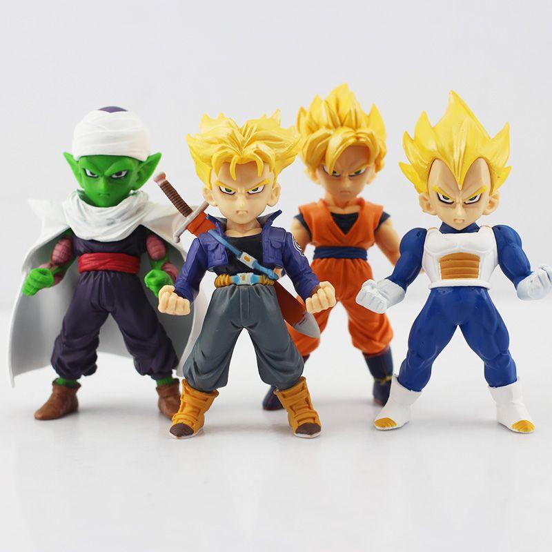 4pcs/lot Dragon Ball Display Figure Toy Q Version Super Saiyan Trunks Piccolo Vegeta Son Gokou PVC Figure Toys Collective Toy