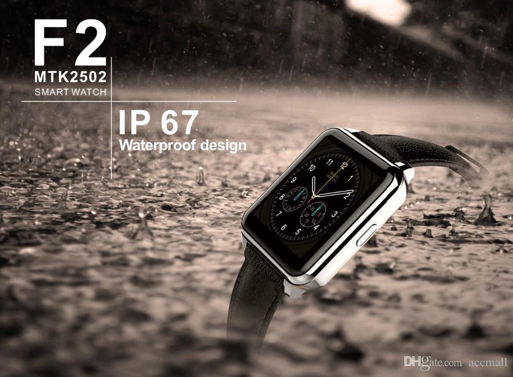 F2 스마트 블루투스 시계 전화 MTK2502 iOS 안드로이드에 대한 동적 심박수 모니터링 2.5D 아크 터치 스크린 안드로이드 IP67 방수 Smartwatch