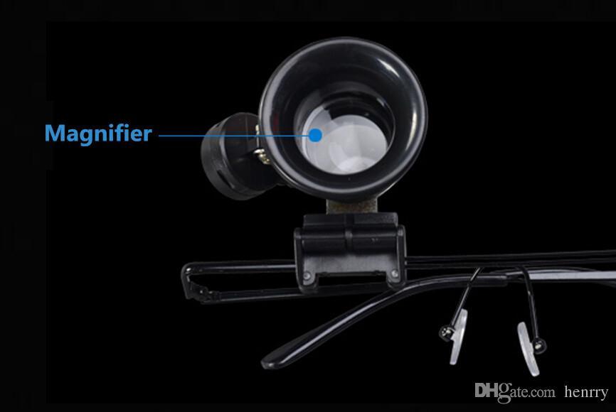 240ピーズAバッグ20回メガネタイプ9892A拡大鏡付きLEDライト虫眼鏡翡翠ジュエリーウォッチ専用の機器修理