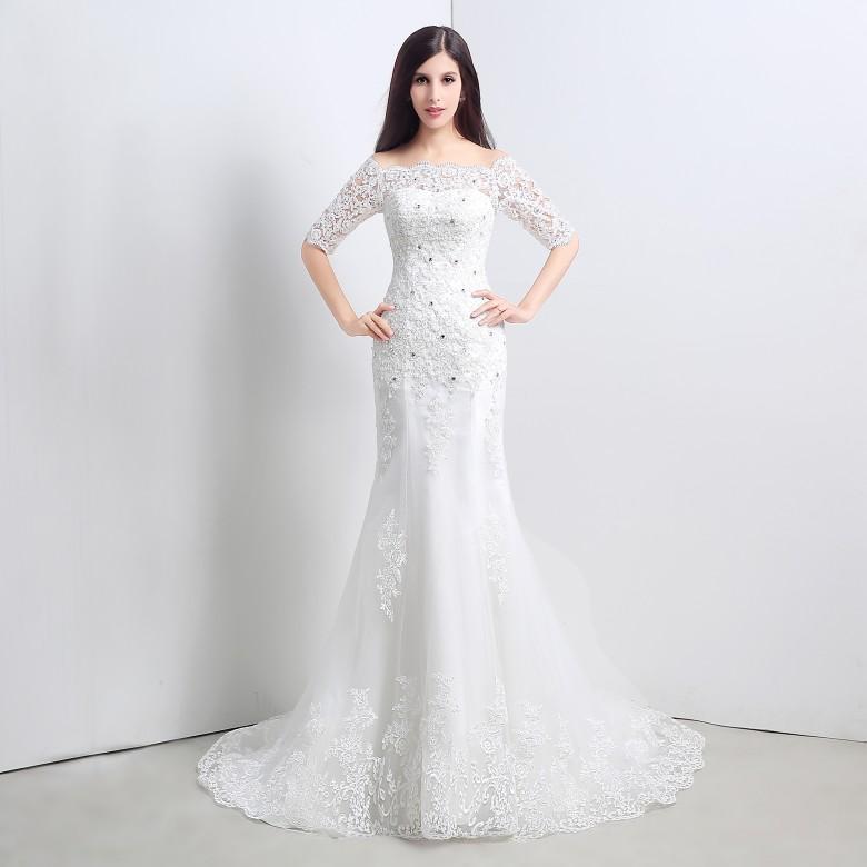 Русалка дешевые свадебные платья с половиной рукава реального Picture100% с плеча Сделано в Китае сад скромные свадебные платья 2015