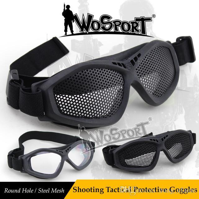 WoSporT Novo Tactical Tiro De Malha De Rede de Aço Óculos de Proteção Ao Ar Livre Airsoft CS Field Game Combate Sunlasses