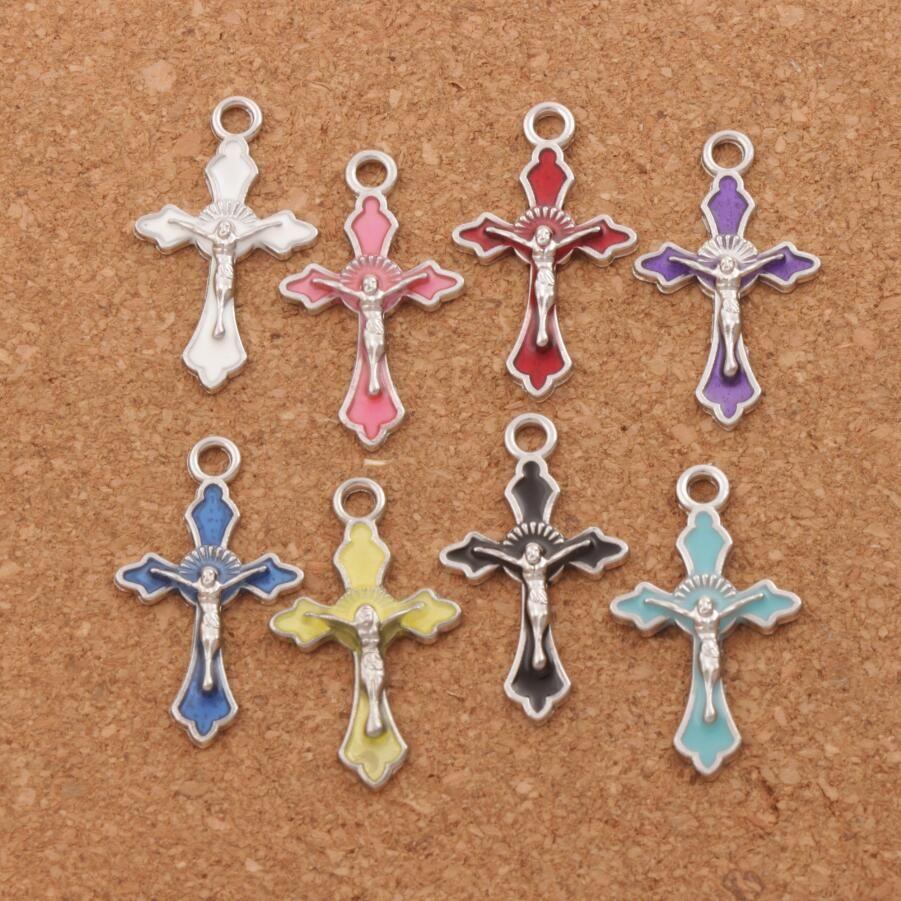 Esmalte de la cruz del crucifijo de Jesús colgantes de los encantos 200pcs / lot de la joyería de la manera DIY 8Colors 14x22.5mm caben las pulseras pendientes del collar L499