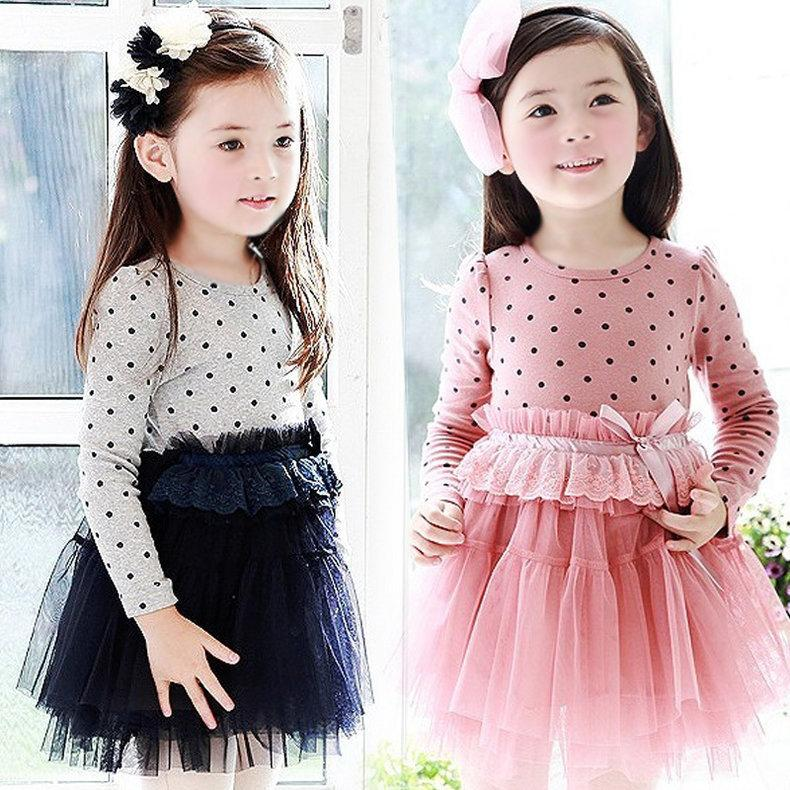 Toddler Child Baby Girl Off Shoulder Cute Polka Dot Party Princess Dress Clothes