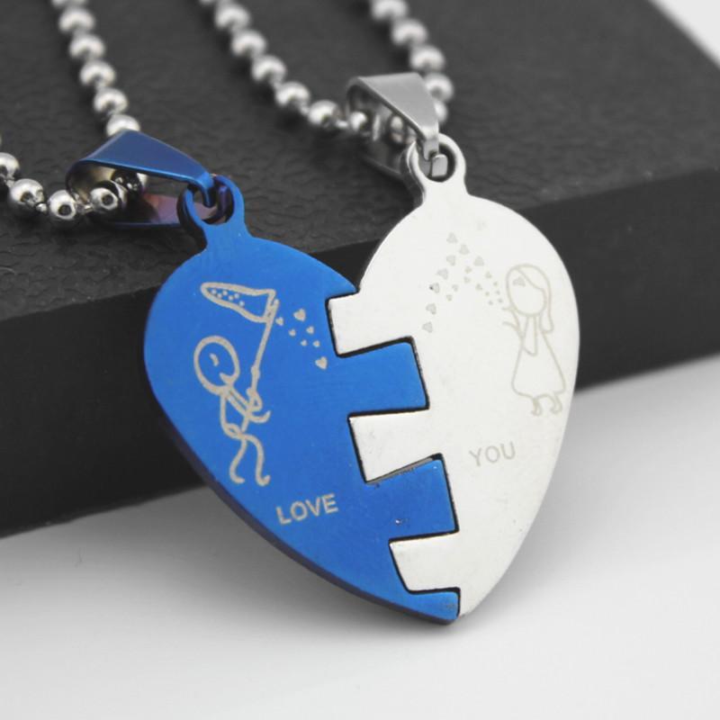 1 Paire De Mode Bleu Argent Tone En Acier Inoxydable Puzzle Amour Coeur Couple Pendentifs Chaîne Collier Cadeau De La Saint-Valentin MN259
