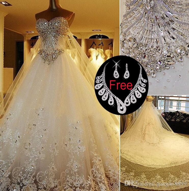2019 Real Photo Sparkly shiny Crystal Wedding Dresses White Ivory Luxury plus size berta bridal Cathedral Train arabic wedding Gowns