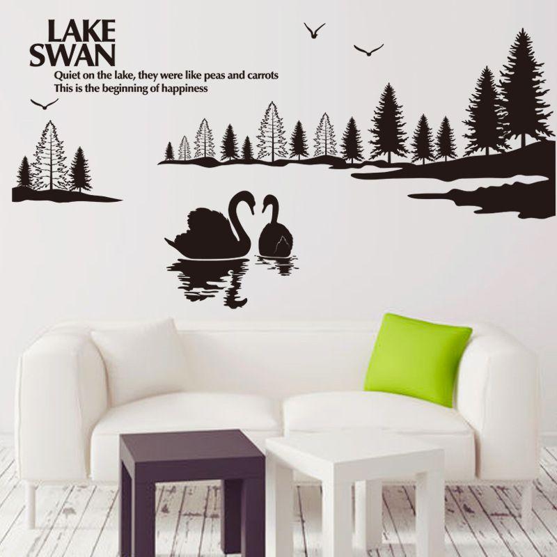 백조의 호수 풍경 벽 예술 벽화 장식 스티커 호수 벽에 조용한 인용문 Decal 포스터 홈 인테리어 벽 Applique