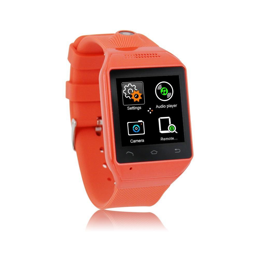 1.54  شاشة تعمل باللمس ساعة اليد يدوي GSM FM مزامنة بلوتوث الذكية ووتش الهواتف الذكية الرجال المعصم ووتش مع الروبوت المزدوج سيم