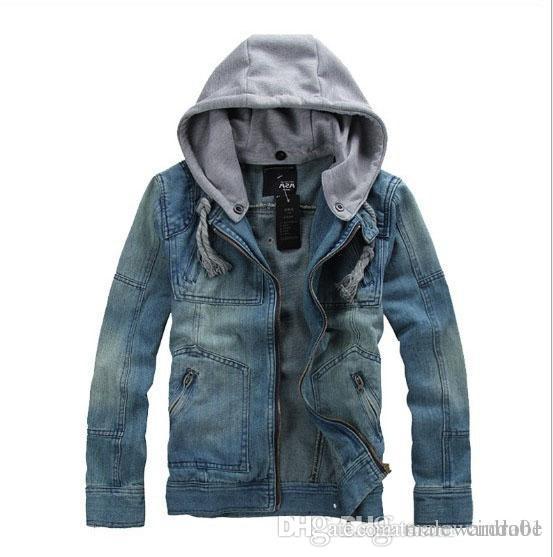 Denim Blue Jean Jacken Mäntel Männer Herbst Winter Mit Kapuze Casual Jacke Plus Size Outwears Abnehmbarer Hut