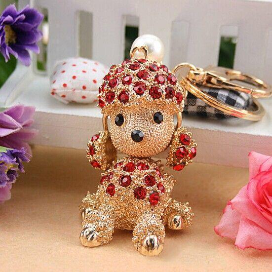Fashion Keyring holder, Cute Poodle dog Key chains,Purse/handbag Charms,Nice Gift Real Gold Plated Alloy Keyring,free shipping