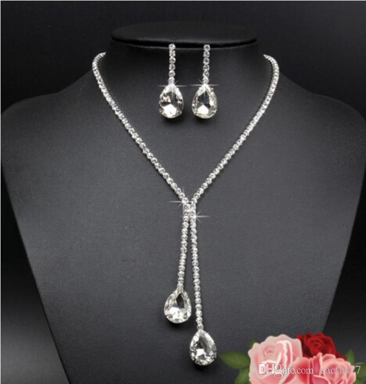 Bridal Wedding Jewelry Set Crystal Rhinestone Diamante Necklace Earrings Silver