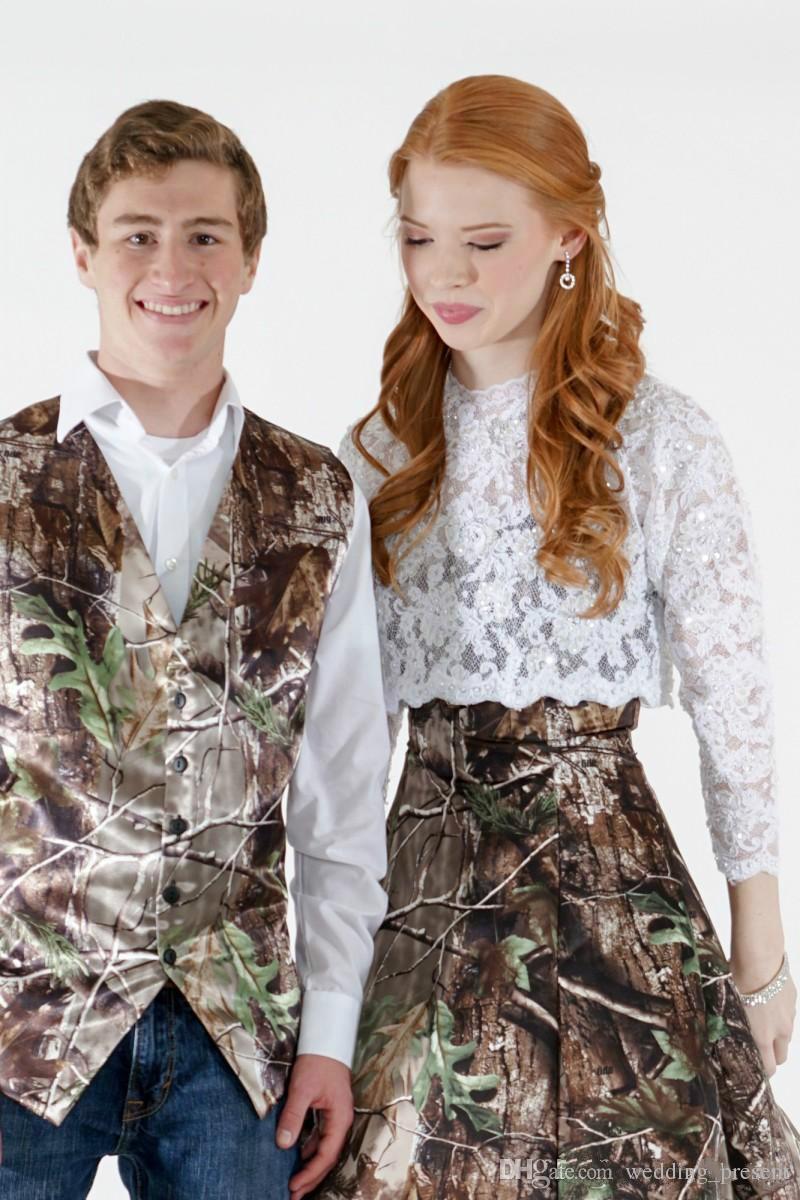 Camo Mens chalecos de la boda prendas de vestir exteriores Groomsmens Chalecos 2015 Realtree Spring camuflaje Slim Fit chalecos con cuello en V para hombre