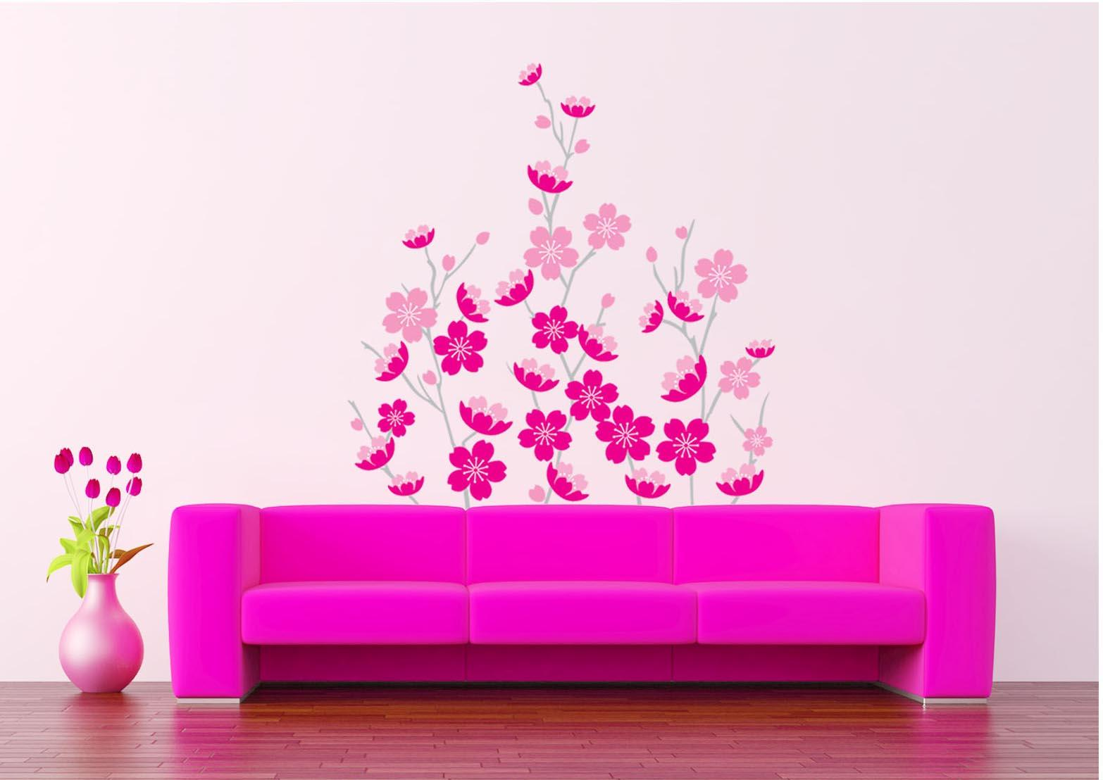 Wall decoration stickers for bedroom - Pink Sakura Wall Art Decor Sticker Romantic Flowers Wallpaper Mural Poster Bedroom Living Room Decoration Diy Art Home Decal