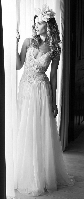 2019 élégant robe de mariée sans dos robes de spaghetti bretelles dentelle tulle arc balades longue gaine longueur longueur robes de mariée sur mesure W831