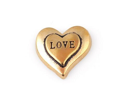 20 pçs / lote cor de ouro palavra amor carta charme, diy coração flutuante encantos medalhão fit para vidro memória medalhão