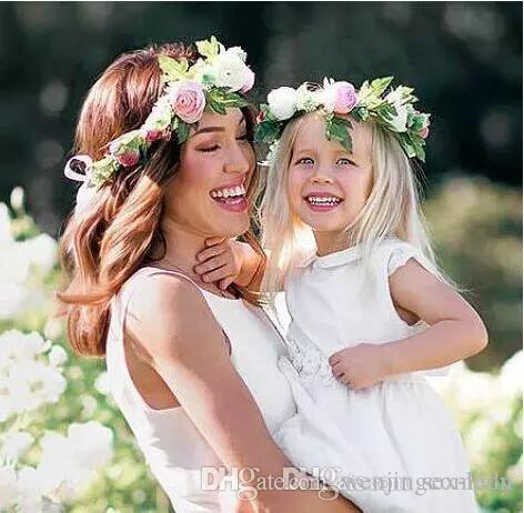 Mommy Kids Wreath Rose Flowers Headband Floral Crown Hairbands Wedding Girls Headwear Headdress Wedding Florial hair Accesaries